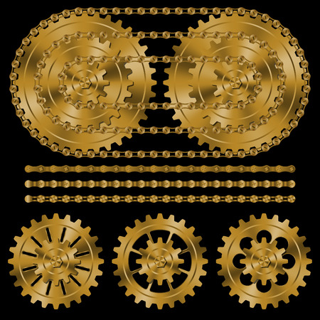 Set of golden gears and chains on black background. 向量圖像