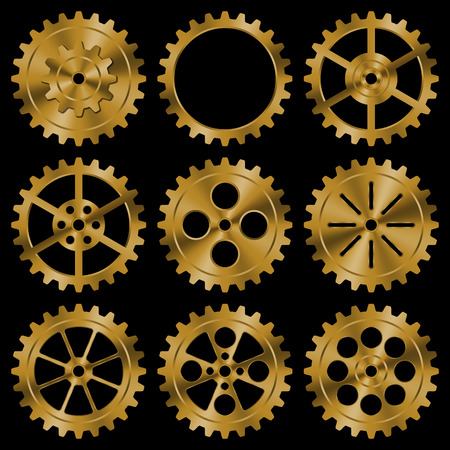 Set of golden gears on black background. Stock Illustratie