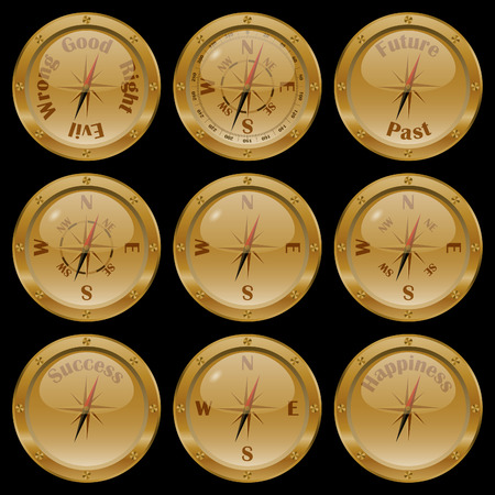 Set of golden compasses on black background, including conceptual compasses: moral compass good or evil, right or wrong, future or past, success, and happiness.
