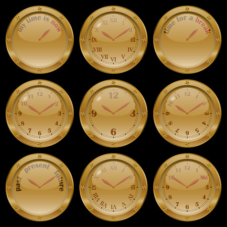 morning noon and night: Set of golden clocks on black background, including conceptual clocks: my time is now, time for a break, past present future, and me time.