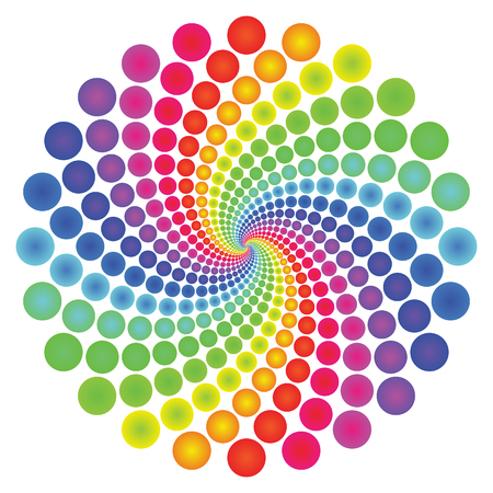 Circular spectrum pattern on white background.