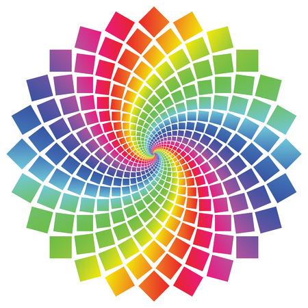 白い背景の上の円形のスペクトル パターン。  イラスト・ベクター素材
