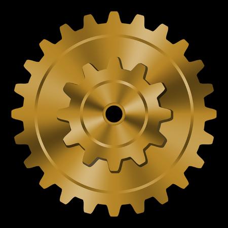 brass: Golden gear on black background.