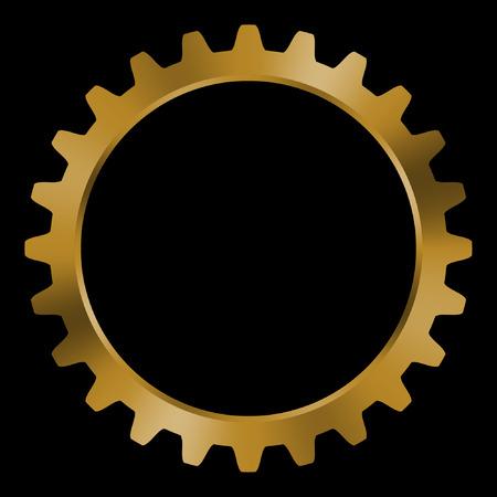 Golden gear on black background.
