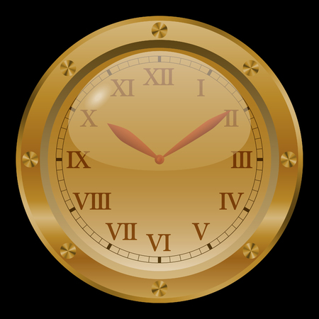 numeros romanos: Reloj de oro sobre fondo negro.