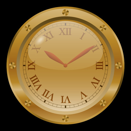 morning noon and night: Golden clock on black background.