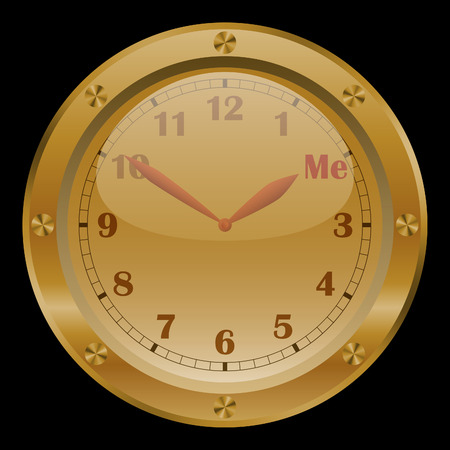 morning noon and night: Golden conceptual clock on black background. Illustration