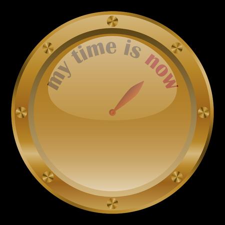 midday: Golden conceptual clock on black background. Illustration