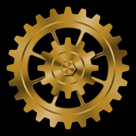 brass: Golden gears on black background.