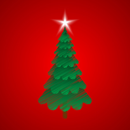 red christmas background: Christmas tree with red background
