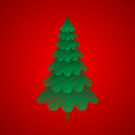 seasons greetings: Christmas tree with red background