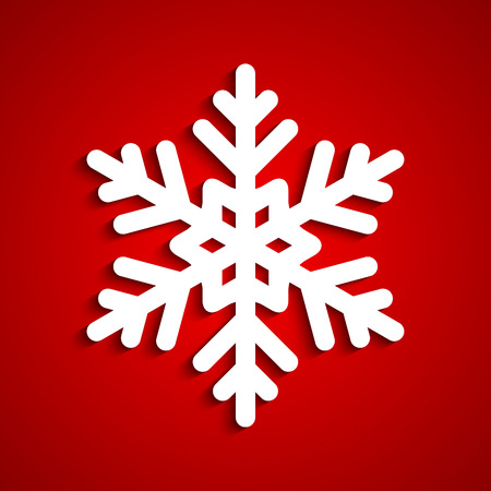 red snowflake background: White snowflake with red background