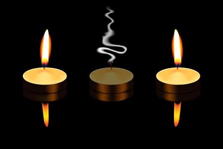 santa cena: Tealight aislado en el fondo negro Vectores
