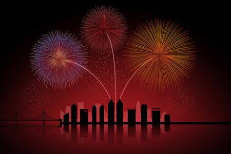 aerial bomb: Fireworks over city scape skyline Illustration