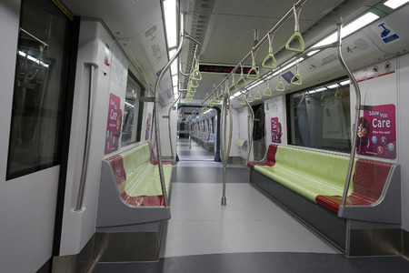 railway transport: Singapore, Dec 13, 2015: Inside the public transport train in Singapore. The Mass Rapid Transit MRT, forming the major component of the railway system in Singapore, spanning the entire city-state.