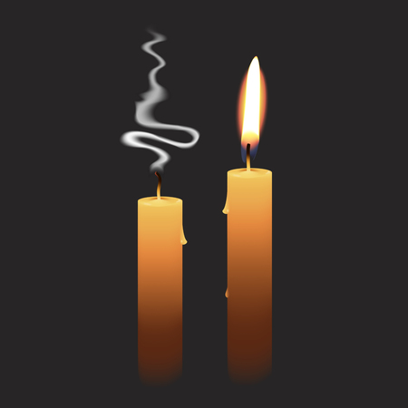 Candlelight - Isolated on Black Background - Vector Illustration