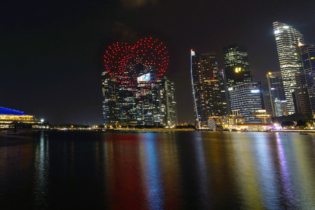 Singapore - July 15, 2017: 300 unmanned drones performed aerial formations and light shows during the rehearsal for Singapore National Day Parade 2017.