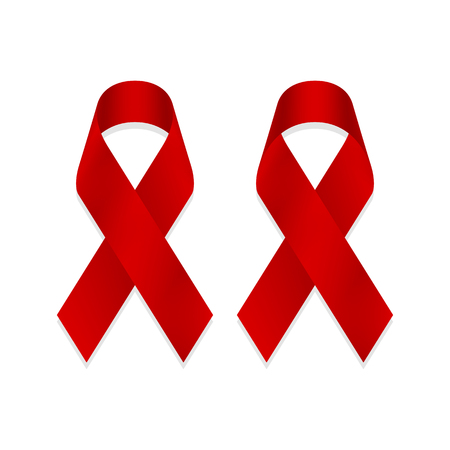 Red awareness ribbon isolated on white background, front and back view, a vector illustration.