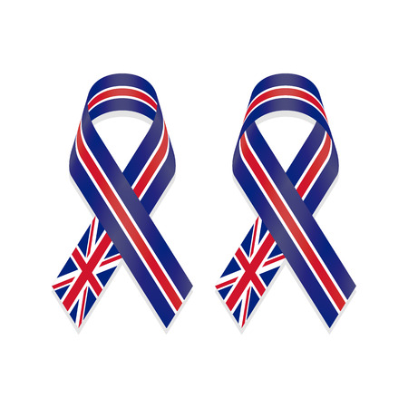 drawing pin: Ribbon flag of United Kingdom (UK) isolated on white background, front and back view, a vector illustration. Illustration