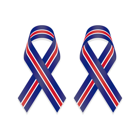 Ribbon blue white red stripes based on flag of United Kingdom (UK) isolated on white background, front and back view, a vector illustration.