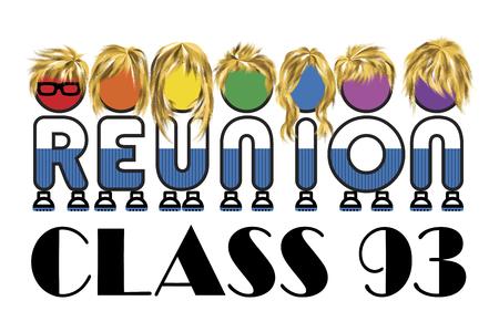 クラス同窓会ロゴは白い背景、ベクター グラフィックの虹色を分離しました。