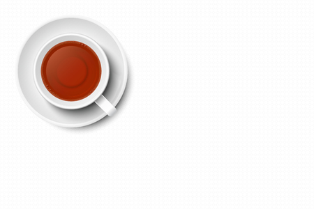 Tea in mug vector with copy space, isolated on white background. White mug and plate, white textured surface, top view, from above.