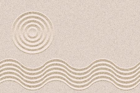 日本禅ガーデン デザイン レイアウト背景ベクトル コピー スペースを持つ。幾何学的な波紋と砂のテクスチャ。  イラスト・ベクター素材