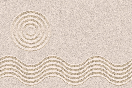 silent: Japan Zen Garden design layout background vector with copy space. Geometric ripples and sand texture.