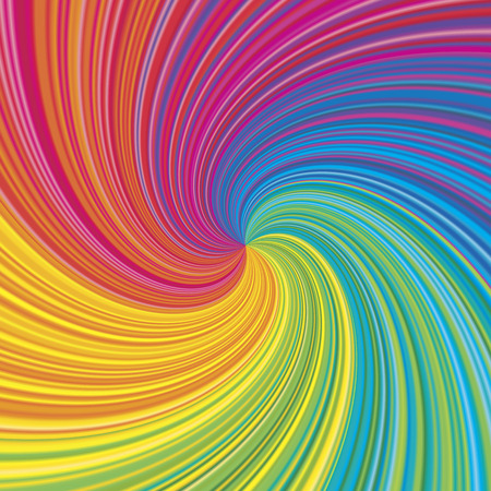 Vortex vector colorful rainbow background. Radial swirling illusion for design layout.
