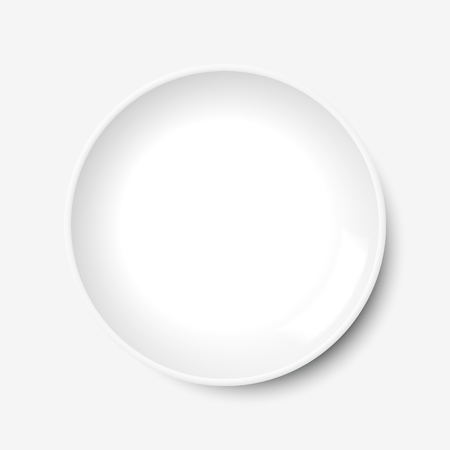 Plate vector in white, isolated on white background. Empty, top view, from above. 向量圖像
