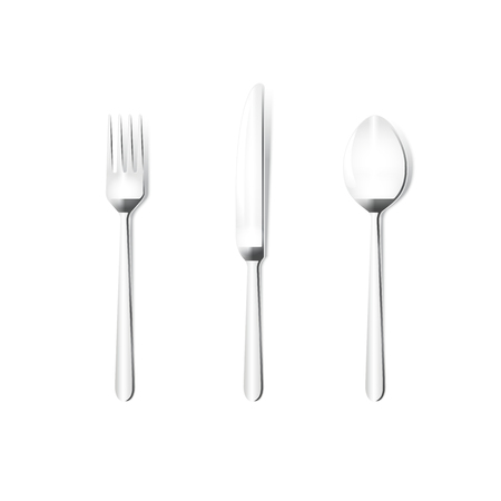 Knife fork spoon vector grey metal isolated on white background. Top view, from above.