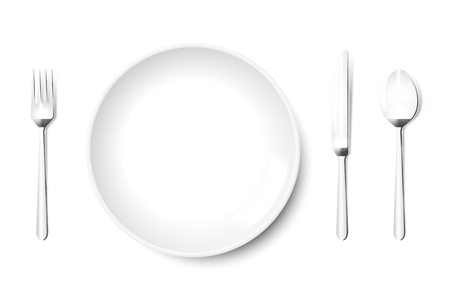 Plate vector in white with knife fork spoon in metal grey, isolated on white background. Empty, top view, from above.