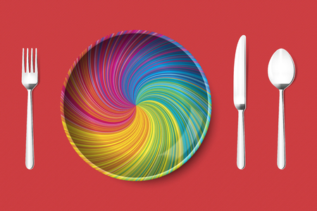 Plate vector in colorful rainbow vortex with knife fork spoon in metal grey, on red textured background. Empty, top view, from above.