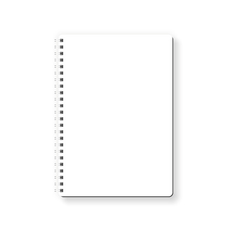 Notebook vector isolated on white background. Empty white page, top view, from above.