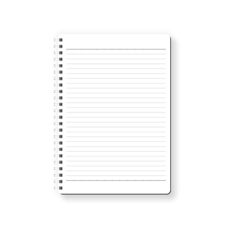 Notebook vector isolated on white background. White page with ruled paper, top view, from above.