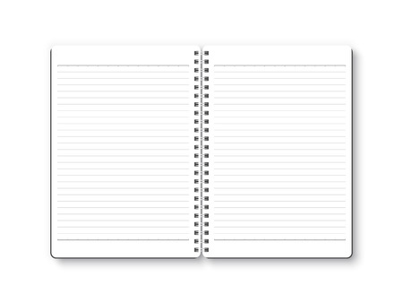 Notebook open vector isolated on white background. White page with ruled paper, top view, from above.  イラスト・ベクター素材