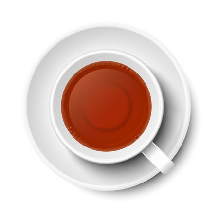 Tea in mug vector in white, isolated on white background. With plate below mug, top view, from above.