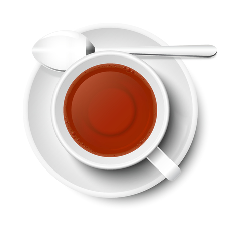 Tea in mug vector in white, isolated on white background. With spoon and small plate, top view, from above.