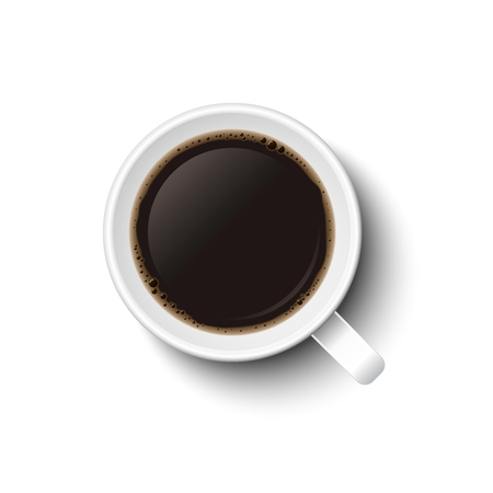 Coffee in mug vector in white, isolated on white background. Top view, from above.  イラスト・ベクター素材