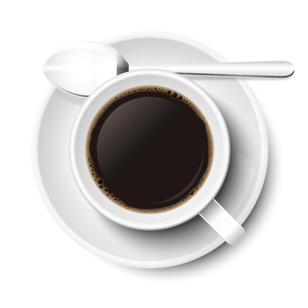 Coffee in mug vector in white, isolated on white background. With spoon and small plate, top view, from above.