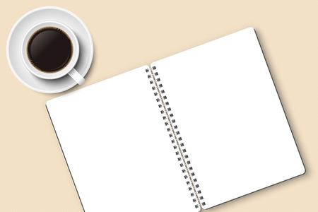 Notebook and coffee in mug vector with copy space, isolated on white background. White mug and plate, white notebook, light brown textured surface, top view, from above.