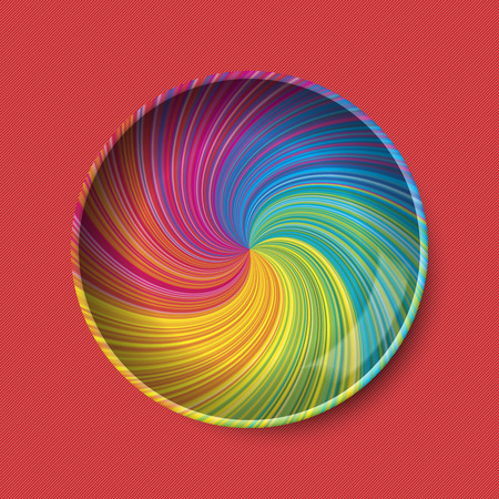 Plate vector in colorful rainbow vortex, on red textured background. Empty, top view, from above.