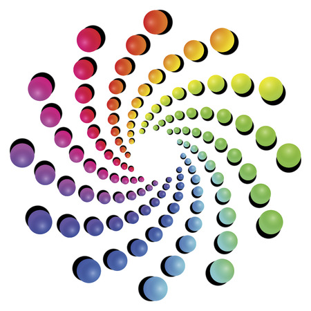 Optical illusion rotating objects. Geometric circular spectrum vector pattern on white background. 向量圖像