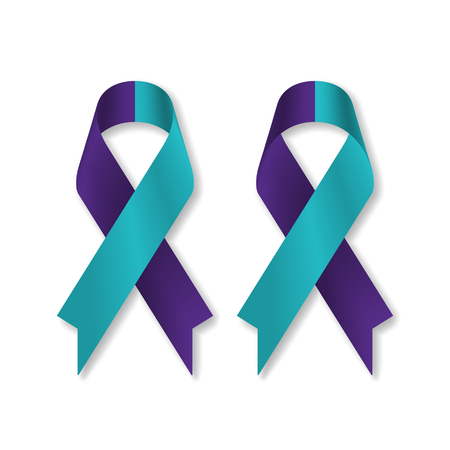 Teal purple ribbon for suicide prevention / awareness, isolated on white background, front and back view, a vector illustration.