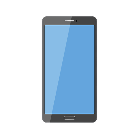 Smartphone vector in black color with blank touch screen isolated on white background. Mobile phone illustration. 向量圖像