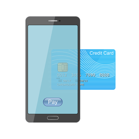 Smartphone credit card pay vector isolated on white background. Phone mobile payment illustration.