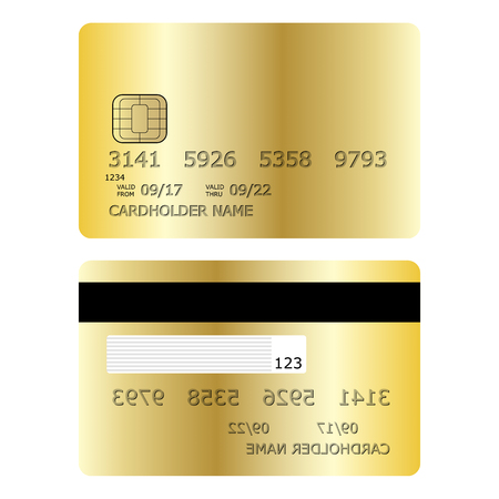 Credit card vector illustration front and back isolated on white background.