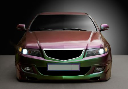 tuning: The tuning car of color a chameleon Stock Photo