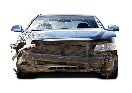 accident dead: The car after failure on a white background Stock Photo