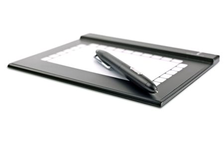 Graphic tablet on a white background Stock Photo